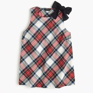 J. Crew Bow-Shoulder Top in Festive Plaid